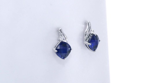 fe0fc229f515e4 Cushion-Cut Lab-Created Blue Sapphire and Diamond Accent Drop Earrings in  10K White