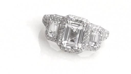Zales Emerald Cut Lab Created White Sapphire Frame Three