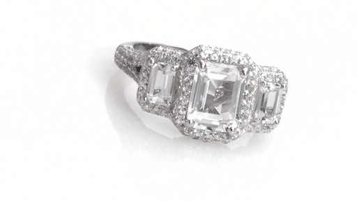 Zales Emerald Cut Lab Created White Sapphire Frame Three