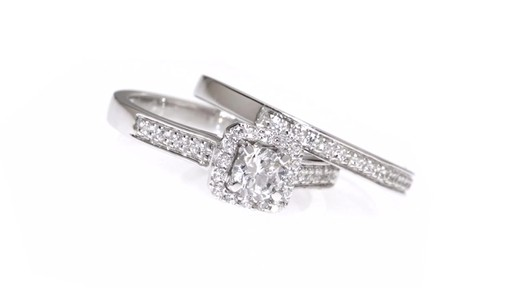 Diamond Square Frame Bridal Set in 10K White Gold 1/2 CT. T.W. framed - image 1 from the video
