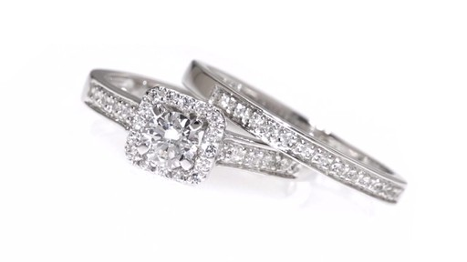 Diamond Square Frame Bridal Set in 10K White Gold 1/2 CT. T.W. framed - image 2 from the video