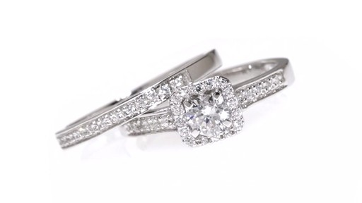 Diamond Square Frame Bridal Set in 10K White Gold 1/2 CT. T.W. framed - image 5 from the video