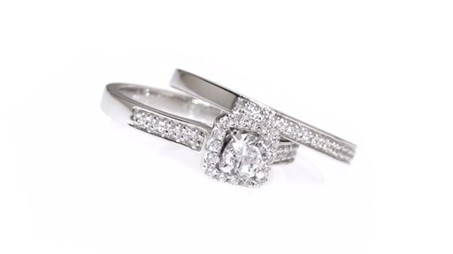 Diamond Square Frame Bridal Set in 10K White Gold 1/2 CT. T.W. framed - image 7 from the video