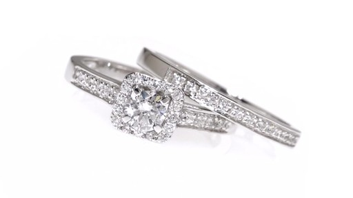 Diamond Square Frame Bridal Set in 10K White Gold 1/2 CT. T.W. framed - image 8 from the video
