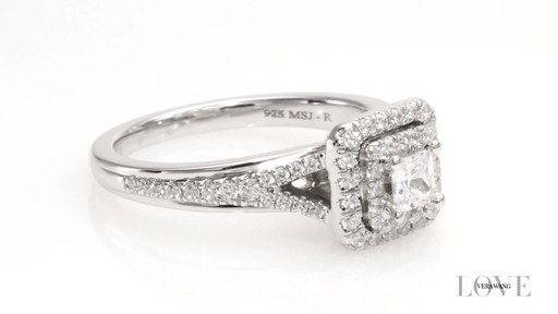 Princess-Cut Diamond Double Frame Engagement Ring in 14K White Gold ...