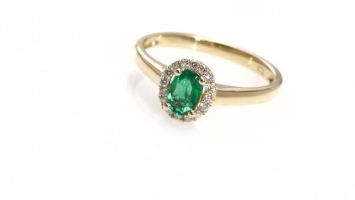 Diamond Frame Ring in 10K Gold Women s Size regular ZALES Oval Emerald