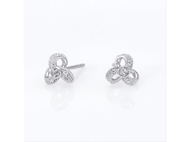 Diamond Accent Flower Stud Earrings in 10K White Gold - image 10 from the video