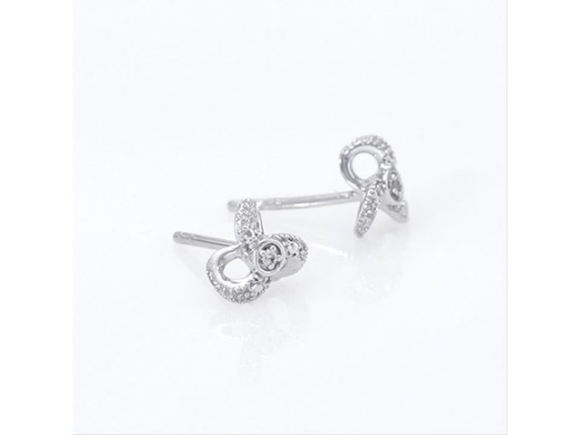 Diamond Accent Flower Stud Earrings in 10K White Gold - image 2 from the video