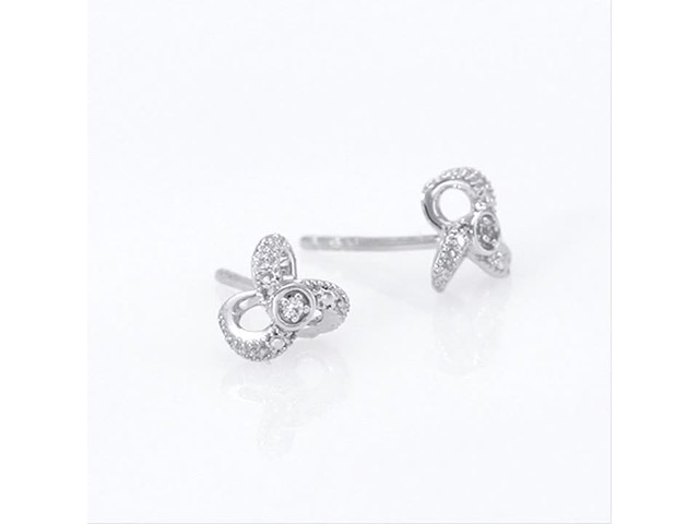 Diamond Accent Flower Stud Earrings in 10K White Gold - image 3 from the video