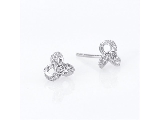 Diamond Accent Flower Stud Earrings in 10K White Gold - image 4 from the video