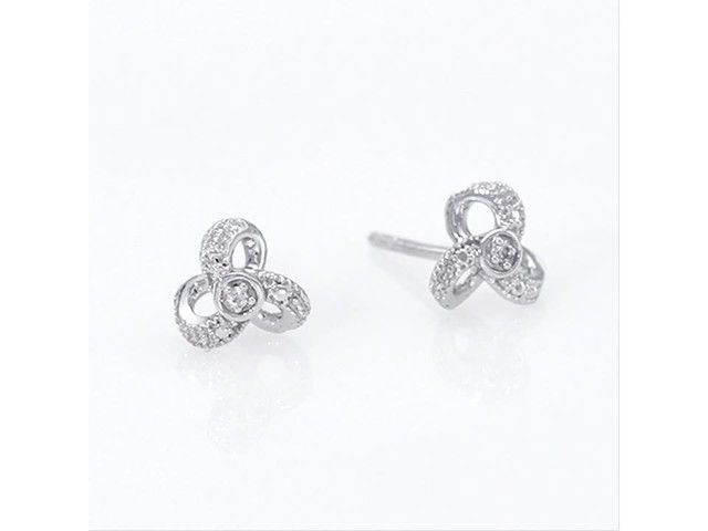 Diamond Accent Flower Stud Earrings in 10K White Gold - image 5 from the video