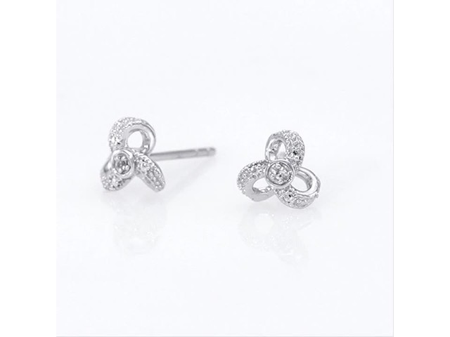 Diamond Accent Flower Stud Earrings in 10K White Gold - image 9 from the video