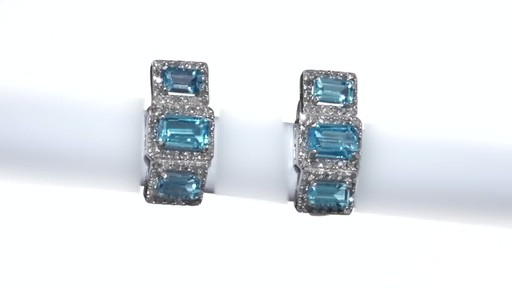 Diamond Frame Three Stone Earrings in 10K White Gold, Women's, Size: regular ZALES Emerald-Cut Swiss Blue Topaz and 5/8 - image 1 from the video