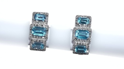 Diamond Frame Three Stone Earrings in 10K White Gold, Women's, Size: regular ZALES Emerald-Cut Swiss Blue Topaz and 5/8 - image 10 from the video
