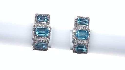 Diamond Frame Three Stone Earrings in 10K White Gold, Women's, Size: regular ZALES Emerald-Cut Swiss Blue Topaz and 5/8 - image 2 from the video