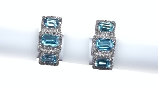 Diamond Frame Three Stone Earrings in 10K White Gold, Women's, Size: regular ZALES Emerald-Cut Swiss Blue Topaz and 5/8 - image 3 from the video
