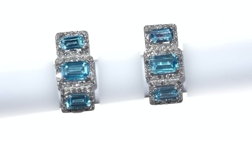 Diamond Frame Three Stone Earrings in 10K White Gold, Women's, Size: regular ZALES Emerald-Cut Swiss Blue Topaz and 5/8 - image 4 from the video