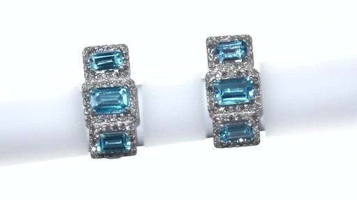 Diamond Frame Three Stone Earrings in 10K White Gold, Women's, Size: regular ZALES Emerald-Cut Swiss Blue Topaz and 5/8 - image 5 from the video