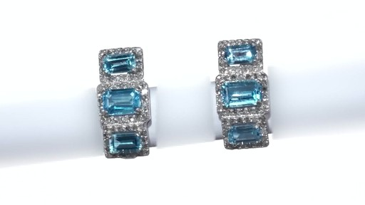 Diamond Frame Three Stone Earrings in 10K White Gold, Women's, Size: regular ZALES Emerald-Cut Swiss Blue Topaz and 5/8 - image 6 from the video