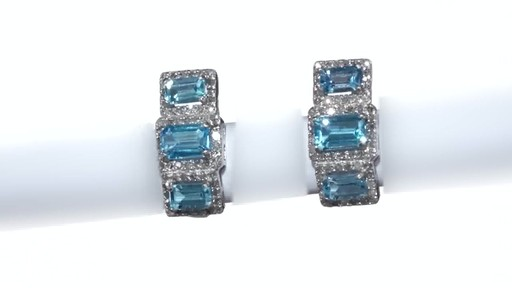 Diamond Frame Three Stone Earrings in 10K White Gold, Women's, Size: regular ZALES Emerald-Cut Swiss Blue Topaz and 5/8 - image 7 from the video