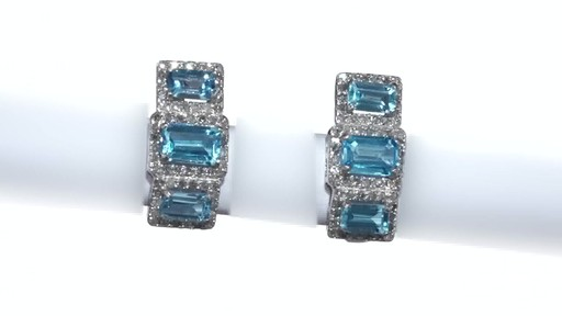 Diamond Frame Three Stone Earrings in 10K White Gold, Women's, Size: regular ZALES Emerald-Cut Swiss Blue Topaz and 5/8 - image 8 from the video
