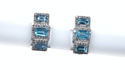 Diamond Frame Three Stone Earrings in 10K White Gold, Women's, Size: regular ZALES Emerald-Cut Swiss Blue Topaz and 5/8 - image 9 from the video