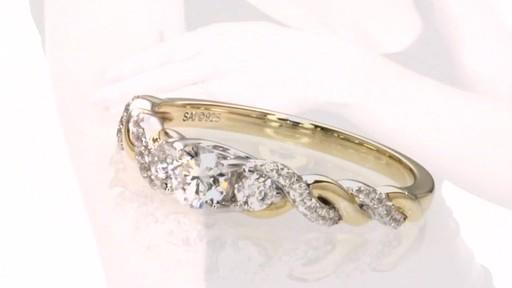 Diamond Past Present Future Twist Engagement Ring In 14k