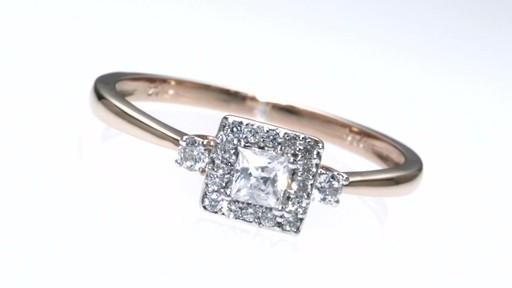 Princess Cut Diamond Frame Promise Ring in 10K Rose Gold 1 4 CT T W Shop