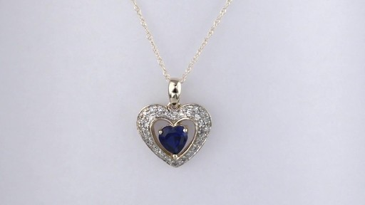 c435d2a33cdcc Diamond Frame Heart Pendant in 10K Gold, Women's, Size: regular ZALES 5.0mm  Heart-Shaped Lab-Created Blue Sapphire and 1/8