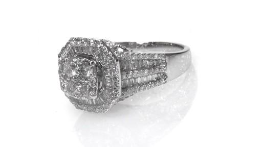 posite Diamond Double Octagonal Frame Engagement Ring in 10K White Gold W