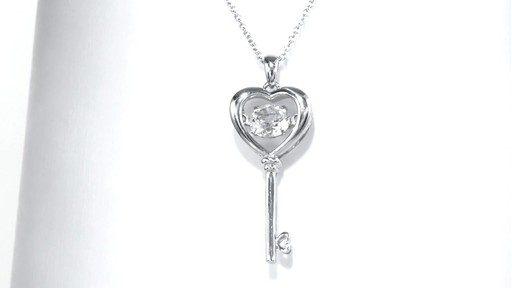 Zales Unstoppable Love Lab-Created Ruby and White Sapphire Heart-Top Key Pendant in Sterling Silver nvV9w