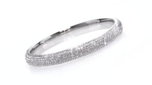 Ava Nadri Crystal Hinged Bangle Bracelet In White Rhodium