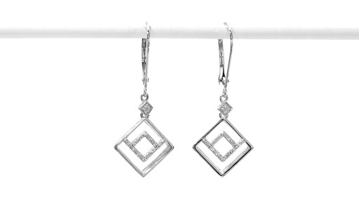 Diamond Accent Angled Geometric Square Drop Earrings in 10K White Gold - image 1 from the video