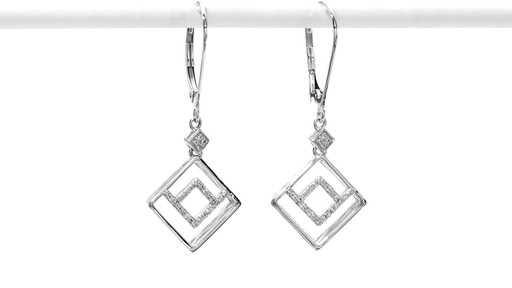 Diamond Accent Angled Geometric Square Drop Earrings in 10K White Gold - image 10 from the video