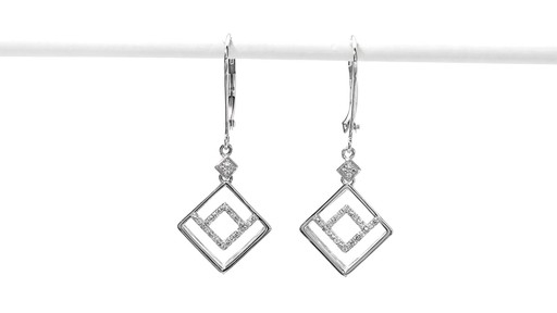 Diamond Accent Angled Geometric Square Drop Earrings in 10K White Gold - image 2 from the video