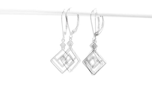 Diamond Accent Angled Geometric Square Drop Earrings in 10K White Gold - image 3 from the video