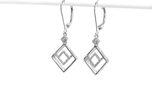 Diamond Accent Angled Geometric Square Drop Earrings in 10K White Gold - image 4 from the video
