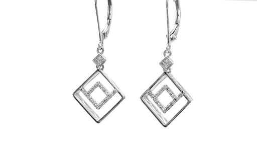 Diamond Accent Angled Geometric Square Drop Earrings in 10K White Gold - image 5 from the video