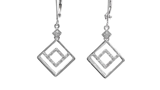 Diamond Accent Angled Geometric Square Drop Earrings in 10K White Gold - image 6 from the video
