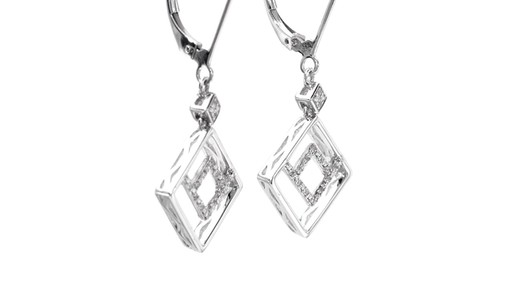 Diamond Accent Angled Geometric Square Drop Earrings in 10K White Gold - image 7 from the video