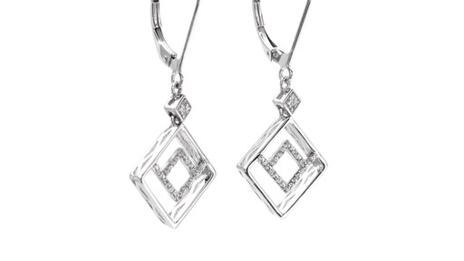 Diamond Accent Angled Geometric Square Drop Earrings in 10K White Gold - image 8 from the video