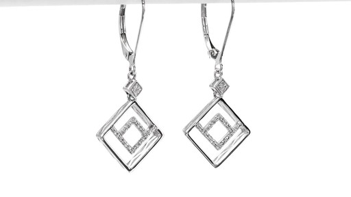 Diamond Accent Angled Geometric Square Drop Earrings in 10K White Gold - image 9 from the video
