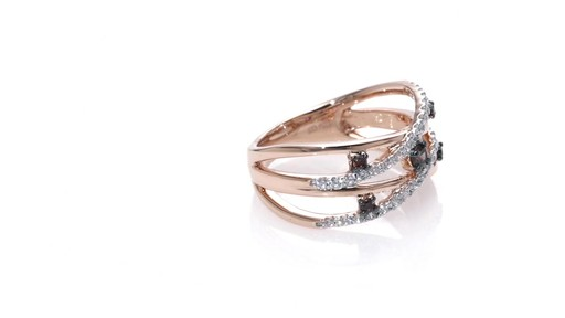 Champagne and White Diamond Layered Orbit Ring in 10K Rose Gold Women s
