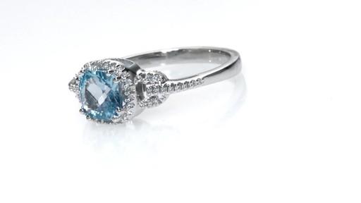 ZALES Cushion Cut Blue Topaz and Lab Created White Sapphire Frame Pendant Ea