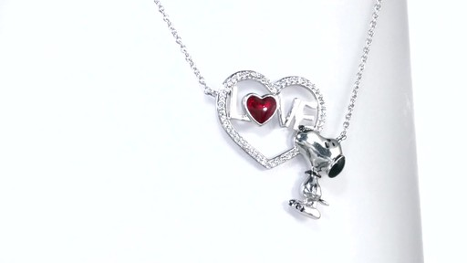 Diamond Snoopy Quot Love Quot Heart Necklace In Sterling Silver