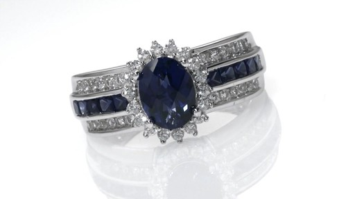 ZALES Oval Lab Created Blue and White Sapphire Frame Engagement Ring in Sterl