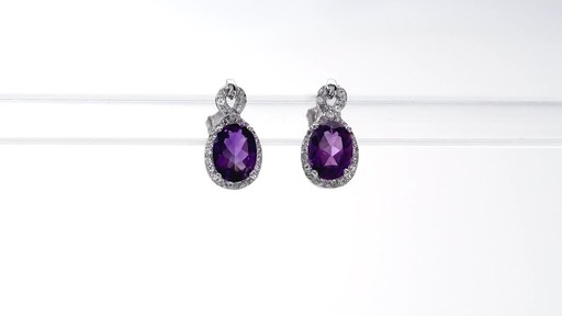 Oval Amethyst and White Topaz Infinity Frame Stud Earrings in Sterling Silver - image 1 from the video