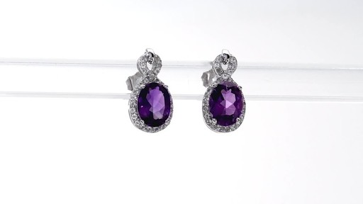 Oval Amethyst and White Topaz Infinity Frame Stud Earrings in Sterling Silver - image 10 from the video