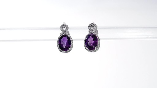 Oval Amethyst and White Topaz Infinity Frame Stud Earrings in Sterling Silver - image 2 from the video