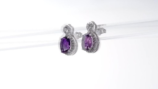 Oval Amethyst and White Topaz Infinity Frame Stud Earrings in Sterling Silver - image 3 from the video